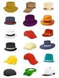 Summer hats for men. Set of summer hats for men isolated on white background royalty free illustration