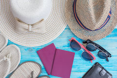 Summer hats  and other travel accessories Royalty Free Stock Photo