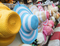 Summer hats sale at market. Many Summer hats sale at market Royalty Free Stock Images