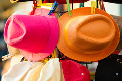 Summer hats for sale outdoor Royalty Free Stock Images