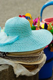 Summer hats for sale outdoor Royalty Free Stock Image
