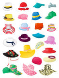 Summer hats. Set of female summer hats isolated on white background Stock Photos