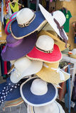 Summer hats in shop Royalty Free Stock Images