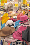 Summer hats in the shop Stock Photography