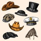 Summer Hats vintage collection for elegant men. Fedora Derby Deerstalker Homburg Bowler Straw Beret Captain Cowboy. Porkpie Boater Peaked cap. Retro fashion set vector illustration