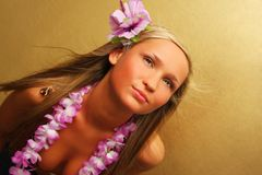 Summer/hawai girl on gold background Royalty Free Stock Photos