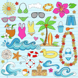 Summer Hawaiian Beach Vacation Doodles Vector. Summer Hawaiian beach Vacation Psychedelic Groovy Notebook Doodle Design Elements Set on Blue Lined Sketchbook Royalty Free Stock Photos