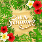 Summer Hawaiian flowers on sandy background Royalty Free Stock Photos