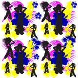 Summer hawaiian girls pattern background Royalty Free Stock Image