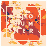 Summer Hawaiian tropical poster with, palm leaves and flowers. Royalty Free Stock Photo