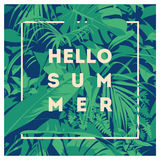 Summer Hawaiian tropical poster with, palm leaves. Stock Image