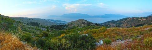 Summer hazy evening coast view (Kefalonia, Greece). Royalty Free Stock Photo