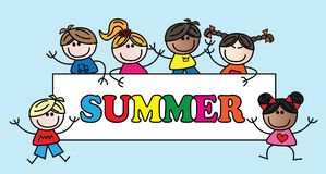Summer header with different mixed children Royalty Free Stock Photo