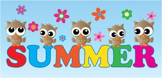 Summer header with owls and flowers Royalty Free Stock Photos