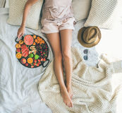 Summer healthy clean eating breakfast in bed concept, square crop Stock Photography