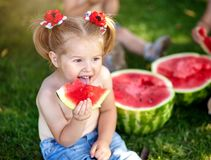 Summer healthy food.Summer healthy food.two happy smiling child eating watermelon in park. Closeup portrait of cute little girls.  stock images