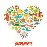 Summer heart design made of doodle season elements Stock Photos