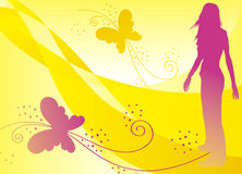 Summer heat. Girl and butterflies in summer heat Royalty Free Stock Photos