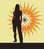 Summer heat. Silhouette of the girl standing on a background of the summer sun Royalty Free Stock Image