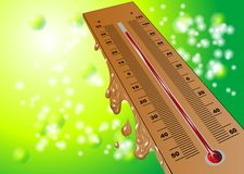 Summer heat. Thermometer on green summer background Stock Photo