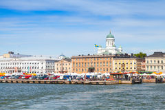 Summer Helsinki cityscape. Central quay Royalty Free Stock Image