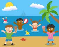 Summer Is Here. A group of multicultural kids playing in a summer day on the beach. Eps file available stock illustration