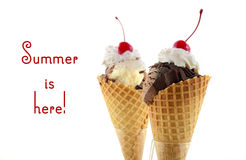 Summer is Here Chocolate Ice Cream Royalty Free Stock Images