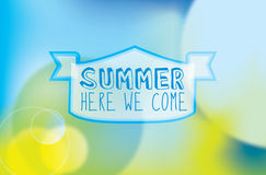 SUMMER HERE WE COME text on abstract lights and su Stock Images