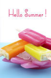 Summer is Here concept with bright color ice creams Stock Photography