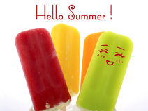 Summer is Here concept with bright color ice creams Stock Photo