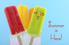 Summer is Here concept with bright color ice creams Royalty Free Stock Photos