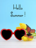 Summer Is Here concept with red heart shape sunglasses Royalty Free Stock Images