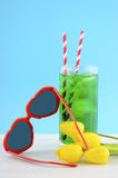Summer Is Here concept with red heart shape sunglasses Royalty Free Stock Photos