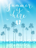 Summer is here poster with handwritten calligraphy. Royalty Free Stock Images