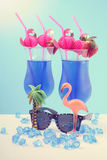 Summer is Here theme Blue Hawaiian cocktails Stock Photo