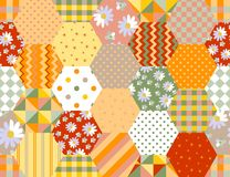 Summer hexagonal seamless pattern. Colorful patchwork background Royalty Free Stock Photo