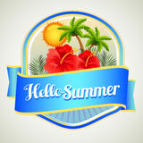Summer hibiscus badge Stock Photography