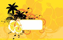 Summer Hibiscus flower tropical hawaian copyspace background. Hibiscus tropical hawaii copyspace background in vector format very easy to edit Stock Photography