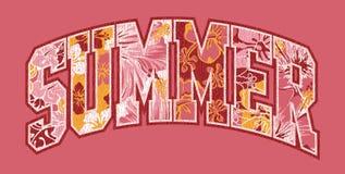 Summer hibiscuses lettering patchwork. Vector artwork for girls t shirt vector illustration