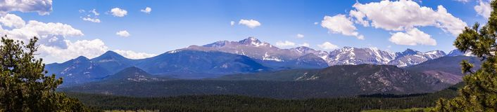 Sunny mountain valley. Travel to the Rocky Mountain National Park. Colorado, United States. Summer high mountain valley. Rocky Mountain National Park, Colorado royalty free stock photo