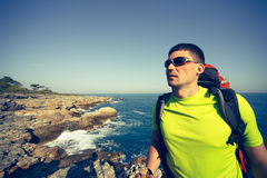 Summer hike along the coast. Stock Images