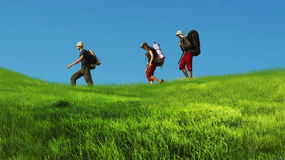 Summer hike. Backpackers stock image