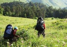 Summer hiking stock image