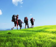 Summer hiking. Backpacker going up in Crimean mountain stock images