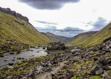 Panoramic view on great fissure of volcanic canyon Eldgja, sunny blue sky royalty free stock photography