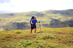 Summer hiking in the mountains. stock images