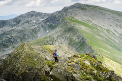 Summer hiking in the mountains stock image