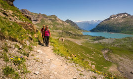 Summer hiking in the Swiss alps Stock Image