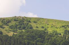 Hill Top with Cross. Summer Hill Top with Cross in Donovaly Slovakia royalty free stock photo