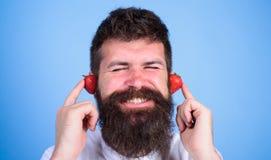 Summer hit concept. Man bearded hipster red ripe strawberry ears as headphones. Hipster beard listen music strawberry. Earphones. Summer playlist music. Guy Stock Image